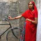 A pregnant woman in Ahmedabad, in the state of Gujarat, India