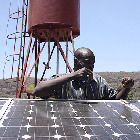 A solar-powered water pump in Mali