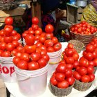 Tomatoes for sale in a market in Accra, Ghana