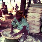 Woman processing cassava